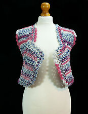 Hand knit and crochet mix ,multicoloured small waistcoat- hand made item