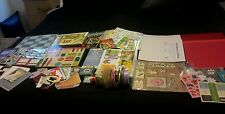 SUPER LOT SCRAPBOOKING EMBELLISHMENTS 12X12 PAPERS, RIBBON VEGAS STAMPS CARDS