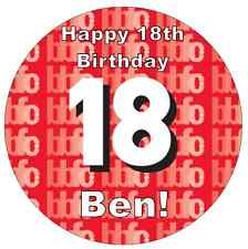 18th Birthday Boy Or Girl Personalised Cake Topper Edible Wafer Paper 7.5""