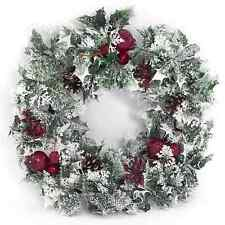 "18"" CHRISTMAS WREATH DECORATION/DOOR ARTIFICIAL WITH VARIEGATED HOLLY AND SNOW"