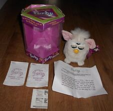 Vintage Original FURBY Cream White Interactive Pet Tiger Toys 1998 with box