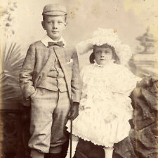 LOVELY BROTHER & SISTER CABINET CARD PHOTO VICTORIAN LEEDS TWEED FASHION ANTIQUE