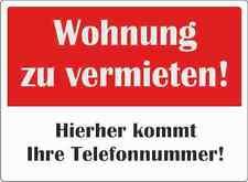 """wetterfestes Schild: """"Wohnung zu vermieten""""  Größe A2"""