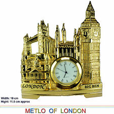 LONDON FAMOUS ICON TOWER BRIDGE BIG BEN TABLE desk CLOCK GOLDEN IN GIFT BOX