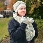 Wool Blend Infinity 3 Piece Winter Set - Infinity Scarf, Gloves, Hat - NEW