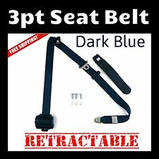 UNIVERSAL 3 POINT RETRACTABLE AUTO CAR SEAT BELT SHOULDER ADJUSTABLE Dark Blue