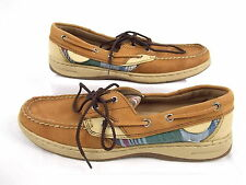 Maui Island Womens Boat Shoes Resort Plaid 748083 Brown Leather Size 7M #114