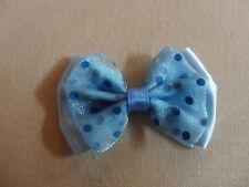 Schleifenapplikation, blau, 6 cm mit Tüll für Frisuren,Puppenkleidung