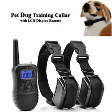 Electric Shock E-Collar TWO Dogs Training Remote Control Anti-Bark + Battery