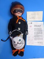 Marie Osmond Doll Gina Halloween Mracle Trick or Treat Black Cat Kitten 10""