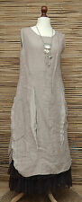LAGENLOOK AMAZING PRETTY QUIRKY BOHO LINEN SILK PANEL LONG DRESS*MOCHA*SIZE M-L