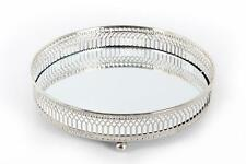 "20 cm 8"" Mirror Glass Candle Plate Display Tray Decorative Antique Silver Metal"