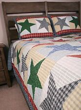Queen Quilt Set Austin Country Home Primitive Americana Stars Coverlet