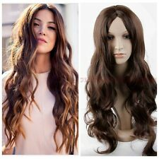 hot Fashion womens wig long curly wavy brown highlight party bar hair full wigs