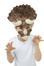Childrens Half Face Mask Triceratops Fancy Dress Costume Prop Dinosaur