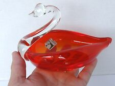 Vintage KREISS Ruby Red & Clear Handblown Art Glass Swan Figurine Candy Dish