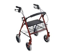 "NEW Drive Folding Rolling Walker Rollator 8"" With Padded Seat With Basket - RED"