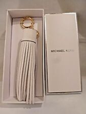 NIB MICHAEL KORS White Leather Tassel Key FOB BAG CHARM 32T6GLXK2L