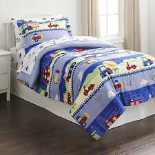 5-Piece Boys Comforter Sheet Set Green Blue Red Twin Planes Trucks Tractors Cars
