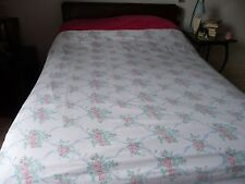 Vintage Shabby Chic Terry Brushed COTTON Rosebud Roses Floral Double Duvet Cover