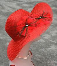 Womens Dress Church Wedding Kentucky Derby Wide Brim Sun Race Feather Hats A345
