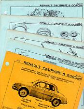 RENAULT DAUPHINE GORDINI BODY PARTS LIST CRASH SHEETS MFRE