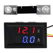 Latest 100A DC Digital Voltmeter Ammeter Dual LED Amp Volt Meter + Current Shunt