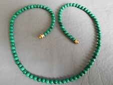 COLLIER ANCIEN TOUR DE COU PERLE RONDE PIERRE NATURELLE MALACHITE VERT NECKLACE