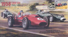 1958d FERRARI D246 AND VANWALL VW(57)s, REIMS F1 cover signed STIRLING MOSS
