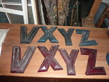 """c1950-60's movie MARQUEE letters V X Y & Z ~ PLASTIC back-lit color 7.5-9"""" x 10"""""""