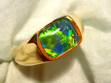 Mens Opal Ring 14ct Yellow Gold, Natural Opal Triplet 10x8mm Rect . item 100743.