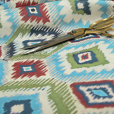 New Kilim Design Modern Geometric Pattern Blue Red Green Light Upholstery Fabric