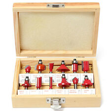 12PC 1/4'' Professional Shank Tungsten Carbide Router Bit Set Wood Case Box New