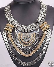 Newest Design huge Lady Statement clear crystal chunky chain charm necklace q965