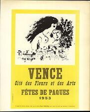 1959 Mini Poster Lithograph ORIGINAL Print Marc Chagall Vence Fetes De Paques