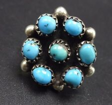 Vintage NAVAJO Sterling Silver & TURQUOISE Petit Point Cluster RING, size 7