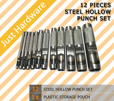 12 PC PCS HOLLOW PUNCH SET LEATHER HOLE PUNCH NEW