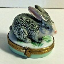 France Limoges Hand Painted Signed CR Curious Seating Bunny Rabbit Trinket Box