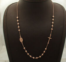 Adjustable Ball Bead Cross Rosary Chain Necklace 14K Rose Pink Gold Clad Silver