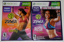 XBox 360 KINECT Game Lot - Zumba Fitness (New) Zumba Fitness Rush (New)