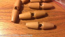 4 Extra Large Light Brown Wooden Toggle Buttons 5cm One Hole 1