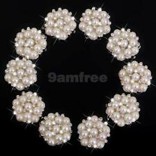 10Pcs Pearl Rhinestone Embellishment Flat Back Pearl Buttons Wedding Craft