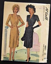 Vintage Original McCall 40's Cocktail Dress Pattern No. 6601