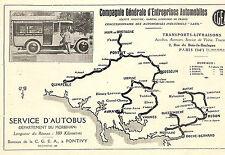56 PONTIVY SERVICE D' AUTOBUS CGEA CONCESSIONNAIRE LATIL PUBLICITE 1927