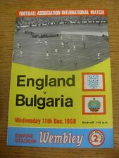 11/12/1968 England v Bulgaria [At Wembley] . Condition: We aspire to inspect all