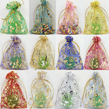 50Pcs Mixed Rose Gauze Organza Wedding Favors Party Candy Gift Bag Pouches 9x7CM