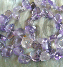 "DIY 15"" Pink Purple Lavender Amethyst Ametrine Gemstone FLAT Water Drop Batu"