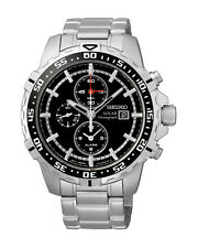 Seiko SSC299 Solar Chronograph Black Dial Stainless Steel Mens Alarm Watch