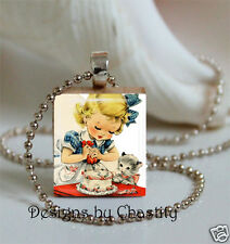 Birthday Cake Necklace Scrabble Little Girl Kitty Cat Pendant - Chain included