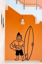 Wall Stickers Vinyl Decal Surfing Muscle Guy With Surfboard Ocean Beach  (z1928)